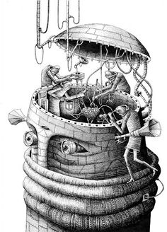 The monochrome illustrations of the Welsh artist Phlegm.