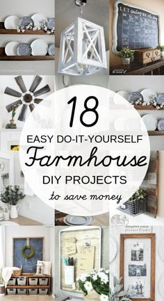 home decor farmhouse DIY Farmhouse decor ideas that are so easy to do you have no excuse not to try them! These cheap DIY rustic decor projects will change the look of your bedroom, mantle, living room, and bathroom on a small budget! Diy Rustic Decor, Rustic Farmhouse Decor, Country Decor, Farmhouse Style, Industrial Farmhouse, Farmhouse Lighting, Farmhouse Ideas, Rustic Kitchen, Rustic Decorating Ideas