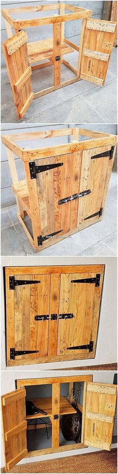 Well, it is rightly said that wood pallet is one such material which you can use for so many amazing creations! This unique creation of the cabinet is one such masterpiece for you. Wood Pallet Recycling, Pallet Crafts, Diy Pallet Projects, Pallet Ideas, Wood Projects, Woodworking Projects, Lit Chat Diy, Apartment Decorating For Couples, Diy Cat Bed