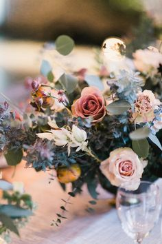 Romantic industrial fall wedding in San Diego at Luce Loft. Lovely Fall wedding flowers.