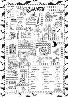 Halloween - ESL worksheet by silvanija Halloween Decorations For Kids, Halloween Activities For Kids, Halloween Crafts For Kids, Holidays Halloween, Halloween Fun, Preschool Halloween, Halloween Math Worksheets, Worksheets For Kids, Halloween Words