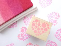 Dots love heart Rubber stamp DIY wedding by JapaneseRubberStamps