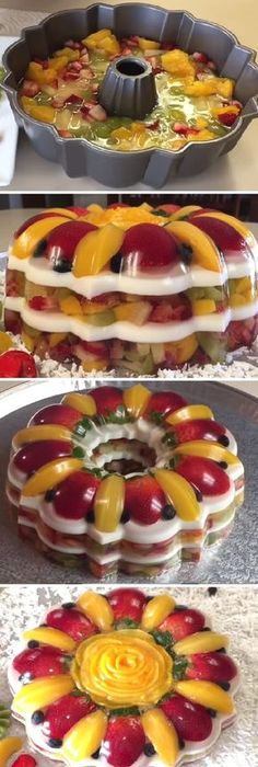 """This ain't your mama's """"fruit cake""""! This light and refreshing beauty is an absolute showstopper, and nothing says """"summer treats"""" more than. Jello Cake, Jello Desserts, Jello Recipes, Cheesecake Recipes, Just Desserts, Mexican Food Recipes, Dessert Recipes, 3d Jelly Cake, Modern Food"""