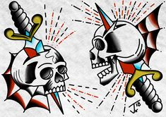 #skullanddagger #flashsheet #traditionalflash #oldschoolflash #digitalpainting #procreate #skull #tattoo #traditional