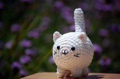 White fat amigurumi kitty cat small crochet by happyhandmadebyjess, $15.00