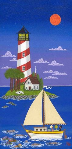 Lighthouse Painting, Cottage Art, Naive Art, Whimsical Art, Pictures To Paint, Beautiful Paintings, Oeuvre D'art, Painting Inspiration, Painted Rocks