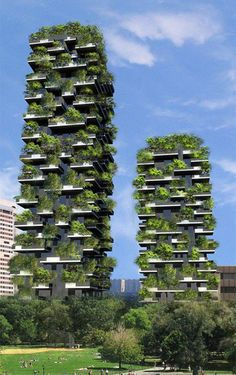 Vertical forest, designed by Stefano Boeri. A residential duo, in the center of Milan. The towers will host over 900 trees, and a variety of plants and flowers. The plants will provide a 10,000 sq meter vertical forest. Milan is one of the most polluted cities in Europe, the plants help produce oxygen, humidity, absorb CO2 and dust particles, and protect the building from radiation in its surrounding urban environment. A filtering system helps to recycle water for the maintenance of the…