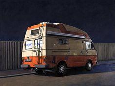 Camper Van at Night limited edition print Leah Giberson Camper Life, Vw Camper, Land Rover Defender, General Motors, Vw Lt 35, Vw Wagon, Vw Modelle, T2 T3, Mercedes Truck
