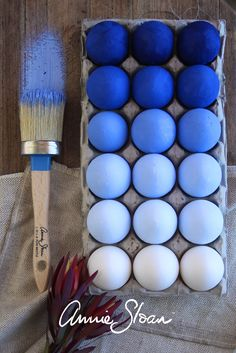 A fun way to celebrate Easter! Painting white Eggs with shades of Napoleonic Blue from Annie Sloan Chalk Paint (non-toxic)