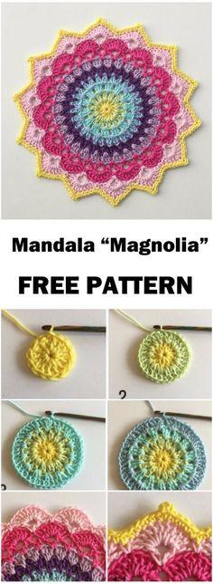 "Crochet Mandala ""Magnolia"" – Free Pattern Mandala Laine, Free Pattern, Crochet Dreamcatcher Pattern Free, Free Mandala Crochet Patterns, Doily Patterns, Crochet Gifts, Crochet Home, Diy Crochet, Crochet Doilies"
