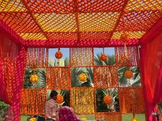 Magic with marigold   DIY decor ideas for the wedding house   using gainda on a budget   Floral canopy on porch for your guests to enter in style   Curated By Witty Vows