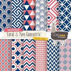 Coral and navy geometric digital papers