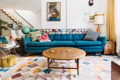 Browse Photos | Apartment Therapy Denim Furniture, Patchwork Sofa, 1970s House, Gold Kitchen, White Shelves, Time Capsule, Home Decor Trends, New Homes, Living Room