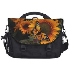 Sunflower Radiance Monarch Butterfly Laptop Bag