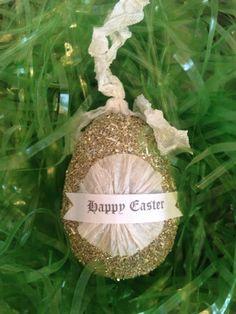 Glitter Easter Egg Happy Easter Egg Decor by thegiftgardenshoppe, $16.00