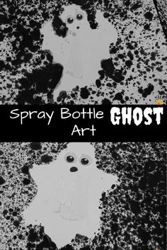 Get spooked By This Spray Bottle Ghost Art Project - MomPlusThree.com # #Spraybottleart #painting #HalloweenCrafts #halloween #ghost #preschool