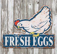 Fresh Eggs Sign   Kitchen Wall Art   Vintage Tin Signs