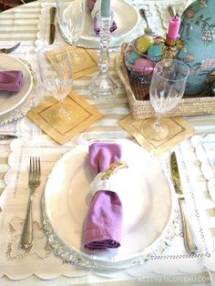 Aesthetic Oiseau: Easter Table, pastel table, Waterford crystal, bamboo plates, scalloped placemats, silver chargers