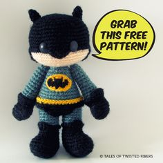 Batman Amigurumi--free pattern by Tales of Twisted Fibers