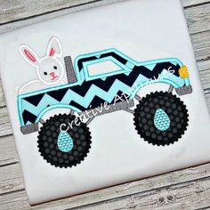 Easter Bunny Rabbit Monster Truck  Machine Embroidery Applique Design 4 Sizes