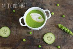 Soupe de concombre et petits pois.