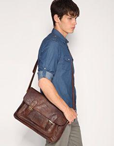 ASOS double buckle retro satchel.