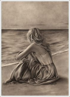 Ein Kunstdruck Glossy Emo Traditional Girl am Strand Ocean Zindy Nielsen - # Arte Emo, Grieving Quotes, First Art, Grief, Favorite Quotes, Art Drawings, Horse Drawings, Animal Drawings, Pencil Drawings