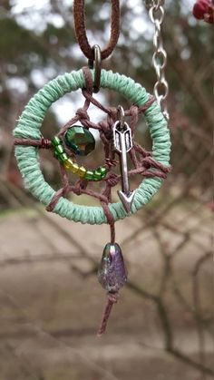Green Dream Catcher with Arrow by AutumnCuddleCreation on Etsy