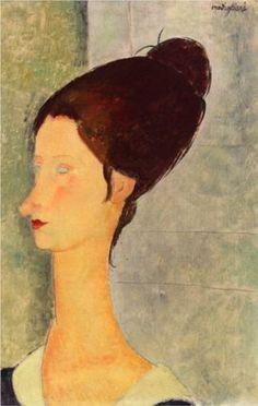 Amedeo Modigliani (1884 -1920) | Expressionism | Jeanne Hebuterne - 1918