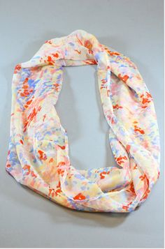 Little Girls Watercolor Floral Infinity Scarf for Babies  Chiffon Circle Loop Scarf in Floral Baby Scarves Children Photo Props