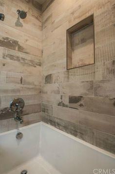 Very Rustic Shower With The Wood Looking Porcelain Tiles On The Walls We Have Many Wood Types