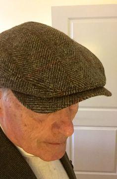 Olive Herringbone Harris Tweed Wigens Ivy Cap with hidden earflaps f8f0df9bdc61