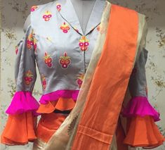 Latest Sari Blouse Designs - The handmade craft Choli Blouse Design, Sari Blouse Designs, Blouse Styles, Stylish Blouse Design, Fancy Blouse Designs, Designer Blouse Patterns, Designer Dresses, Blouse Models, Sleeve Designs