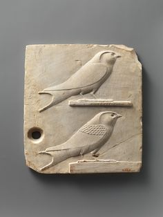 Limestone relief plaque with two swallows. Egypt, Late Period–Ptolemaic Period, 400–30 B.C.
