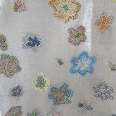 Sophie Digard embroidered scarf on linen | petitdeco