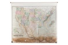 USA and Mexico Antique Pull Down Map