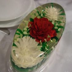 Large Oval Gelatin Art Container - 24cm x 13.5cm x 8cm - Top and bottom included. These containers make a beautiful oval shaped Gelatin Art flower dessert.