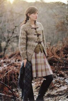 Nothing says autumn like cozy hand-knit clothing and I've discovered that the best patterns are always found in Rowan Knitting & Crochet Magazines! Fresh from the highlands of Scotland, … Rowan Knitting, Rowan Yarn, Knitting Needles, Only Cardigan, Tweed Run, Scottish Fashion, Hippy Chic, Tartan Scarf, Plaid Dress