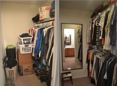 Faced with a small master closet? Convert your space into a two-bar closet! Doubles your clothes-holding capacity and such an easy project/upgrade!