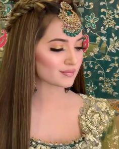 Bridal Makeup Videos, Bridal Makeup Images, Best Bridal Makeup, Bridal Makeup Looks, Bride Makeup, Hair Makeup, Pakistani Bridal Hairstyles, Mehndi Hairstyles, Indian Hairstyles