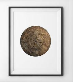 Rustic Tree Stump Woodgrain Wall Art, Wood Grain Texture Print, Minimalist Circle Home Decor, Screen Print Circular Wall Art, Digital Print. by PeakPrintsSF on Etsy https://www.etsy.com/listing/228690350/rustic-tree-stump-woodgrain-wall-art