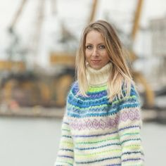 ____________ COLOUR : Multicolour ( There may be a slight difference because of the different monitors' representation) ____________ ♥ In the picture the model is wearing a garment with these Nordic Pullover, Nordic Sweater, Mohair Sweater, Men Sweater, Extreme Knitting, Icelandic Sweaters, Turtleneck Outfit, Thing 1, Cool Sweaters