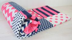Baby Girl Blanket, Fleece Blanket, Crib Blanket, Nautical Nursery Decor, Baby Shower Gift, Pink and Navy Blue Chevron, Dots and Stripes by theredpistachio on Etsy