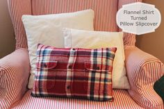 Happy At Home: From Flannel Shirt to Pillow Cover - A Tutorial