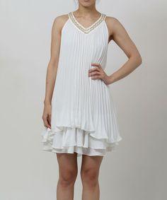 Another great find on #zulily! White Embellished Yoke Dress by funkitribe #zulilyfinds