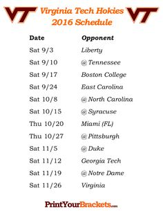 Printable Virginia Tech Hokies Football Schedule 2016