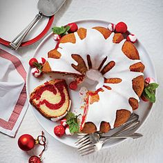 Red Velvet Marble Bundt Cake | MyRecipes.com | The trick to creating looping swirls is to gently layer the batter around the Bundt pan with a small cookie scoop. No need to swirl with a knife; it will marble as it bakes.