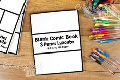 A blank comic book to create great stories for kids and adults. This blank template is aimed for people who like simplicity and charm. One repeatable system of 3 wide panels. 120 pages of the same template. This arrangement of panels is ideal for children and beginners because it contains a lot of space.In such a case, there is always a place for an additional drawing or a speech bubble. This template does not contain speech bubbles so it does not limit us in drawing. Blank Comic Book, Comic Page, Comic Books, Stories For Kids, Great Stories, Draw Your, Bubbles, Layout, Templates