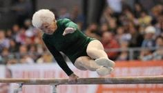 Watch those specs! Johanna Quaas is an 86-year-old gymnastics champion but has the flexibility of a 20-year-old