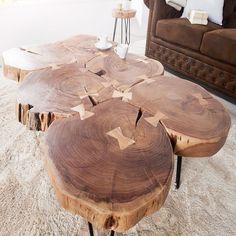 Couchtisch GOA 115cm Baumscheiben Akazie Metallgestell Beistelltisch Tisch Holz in Möbel & Wohnen, Möbel, Tische | eBay!